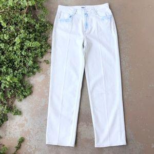PAIGE High Rise Sarah Straight Jeans, White Acid